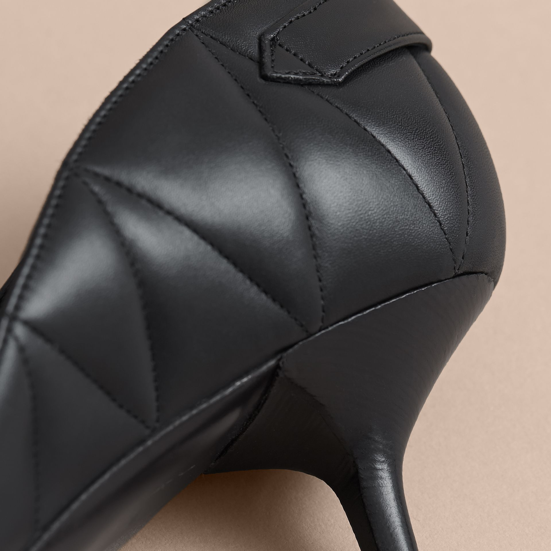 Quilted Leather D'Orsay Pumps in Black - Women | Burberry - gallery image 2