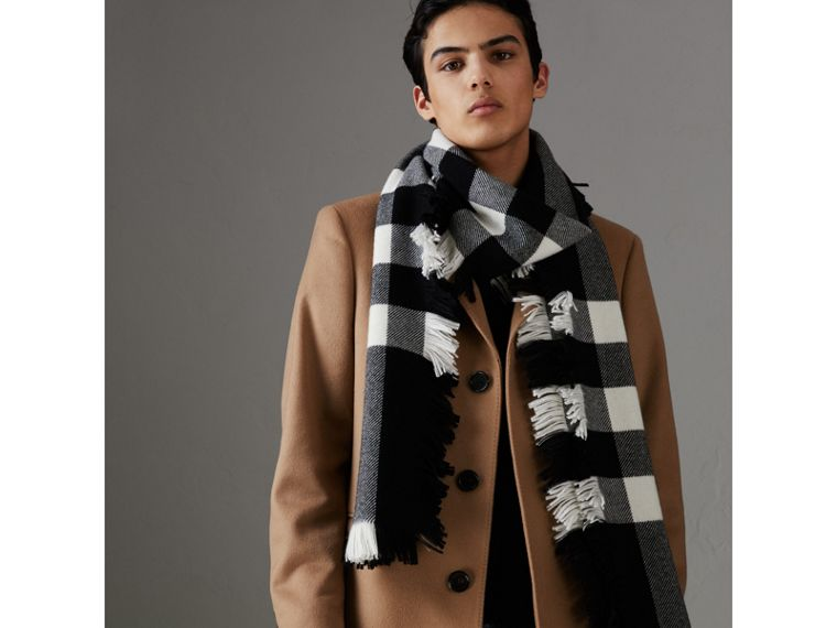 Fringed Check Wool Scarf in Black | Burberry United Kingdom - cell image 4