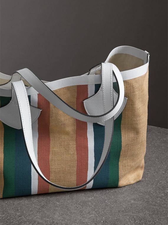 The Medium Giant Tote in Striped Jute in Chalk White - Women | Burberry - cell image 2