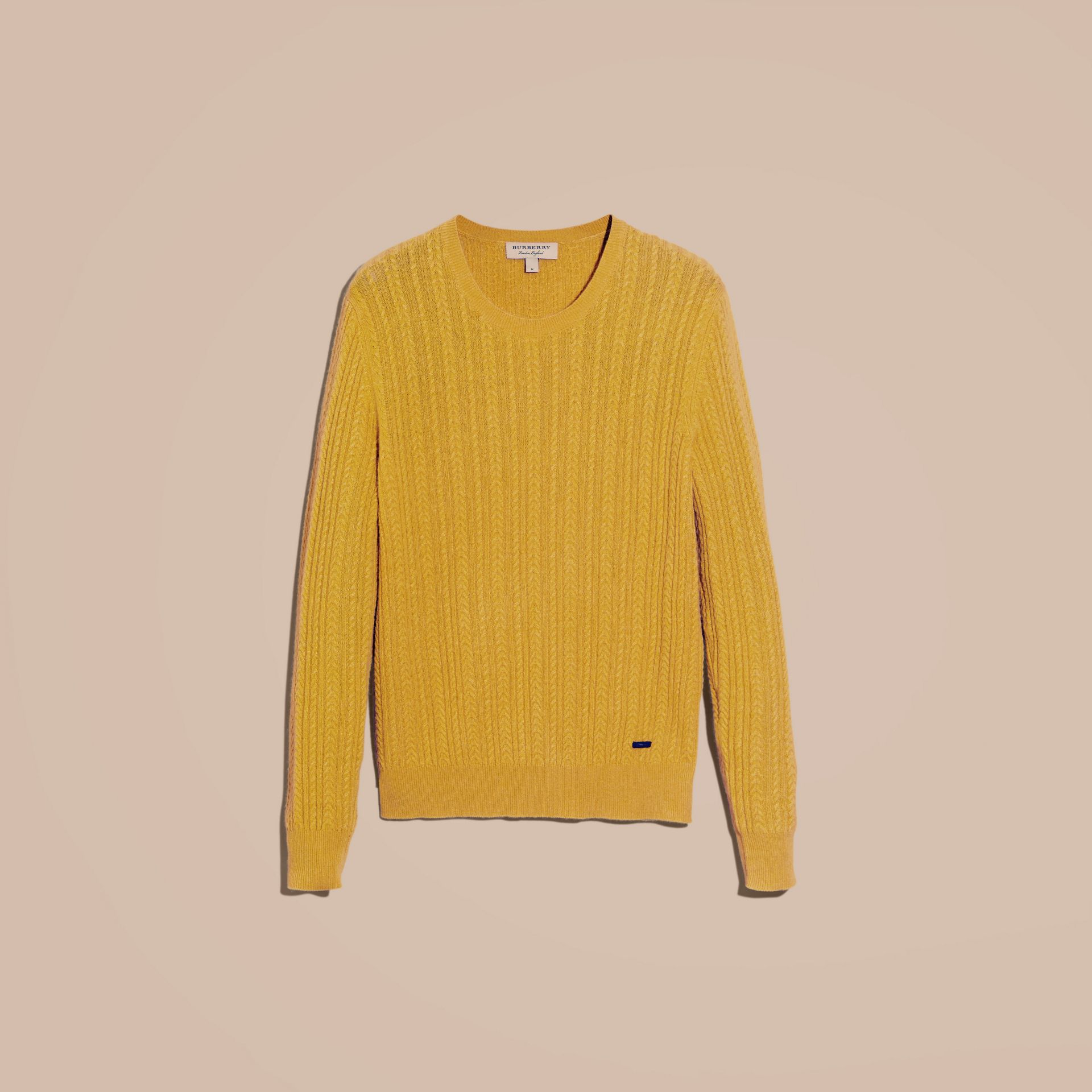 Citrus yellow Aran Knit Cashmere Sweater Citrus Yellow - gallery image 4