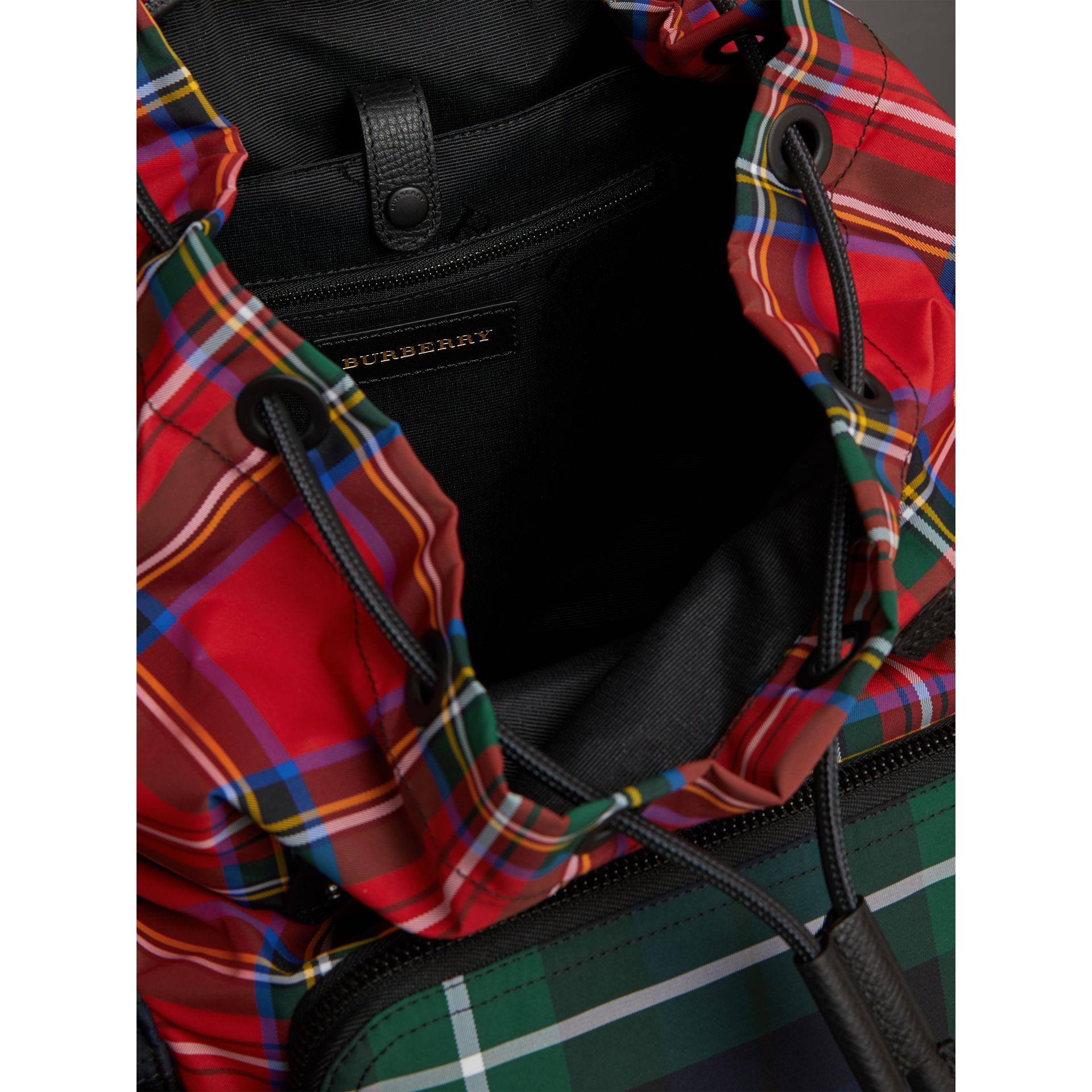 The Large Rucksack in Patchwork Tartan in Military Red | Burberry Singapore - gallery image 4