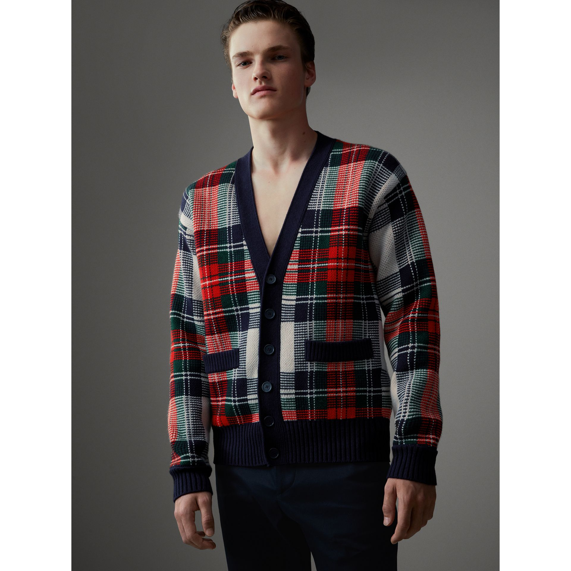 Tartan Knitted Cashmere Wool Cardigan in Natural White/ Navy - Men | Burberry - gallery image 1