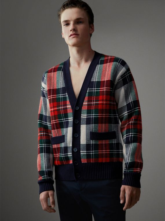 Tartan Knitted Cashmere Wool Cardigan in Natural White/ Navy
