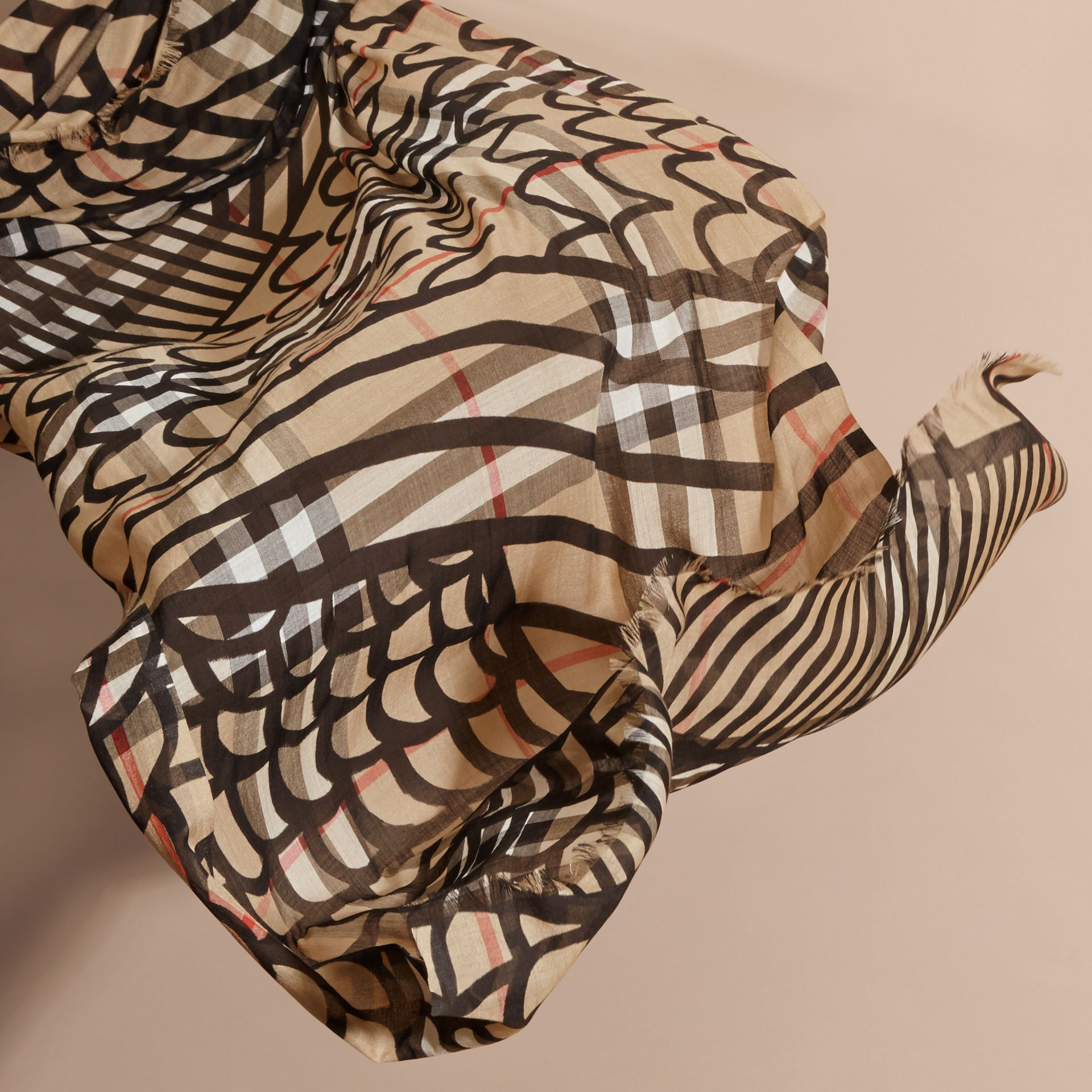 Check Wool Silk Scarf with Trompe L'oeil Print in Camel/black - Women | Burberry - gallery image 3