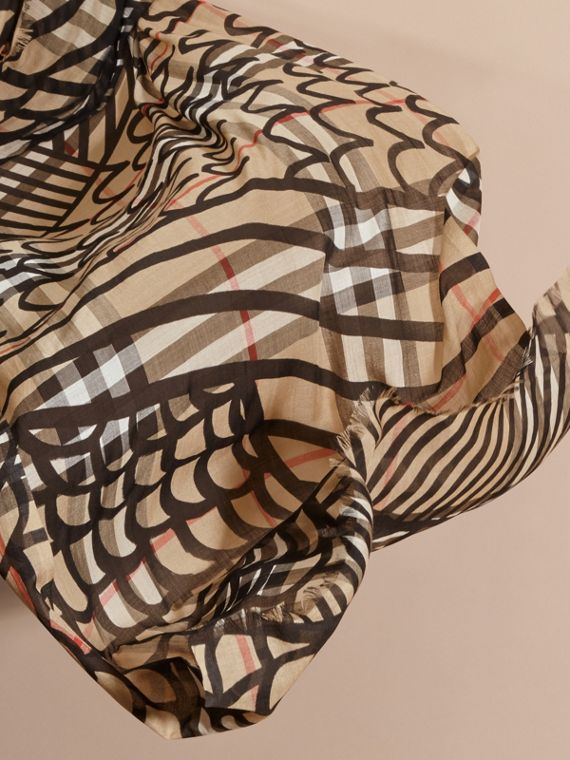 Check Wool Silk Scarf with Trompe L'oeil Print in Camel/black - Women | Burberry - cell image 3
