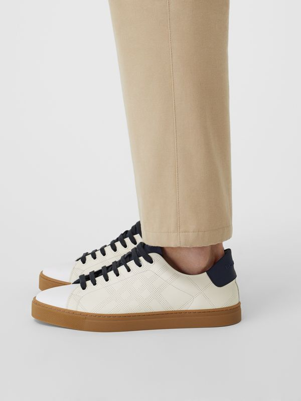 Perforated Check Leather Sneakers in Cream - Men | Burberry - cell image 2
