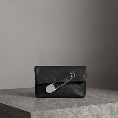 Medium Safety Pin Leather Clutch - Black