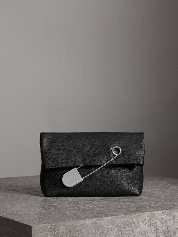 The Medium Pin Clutch in Leather in Black