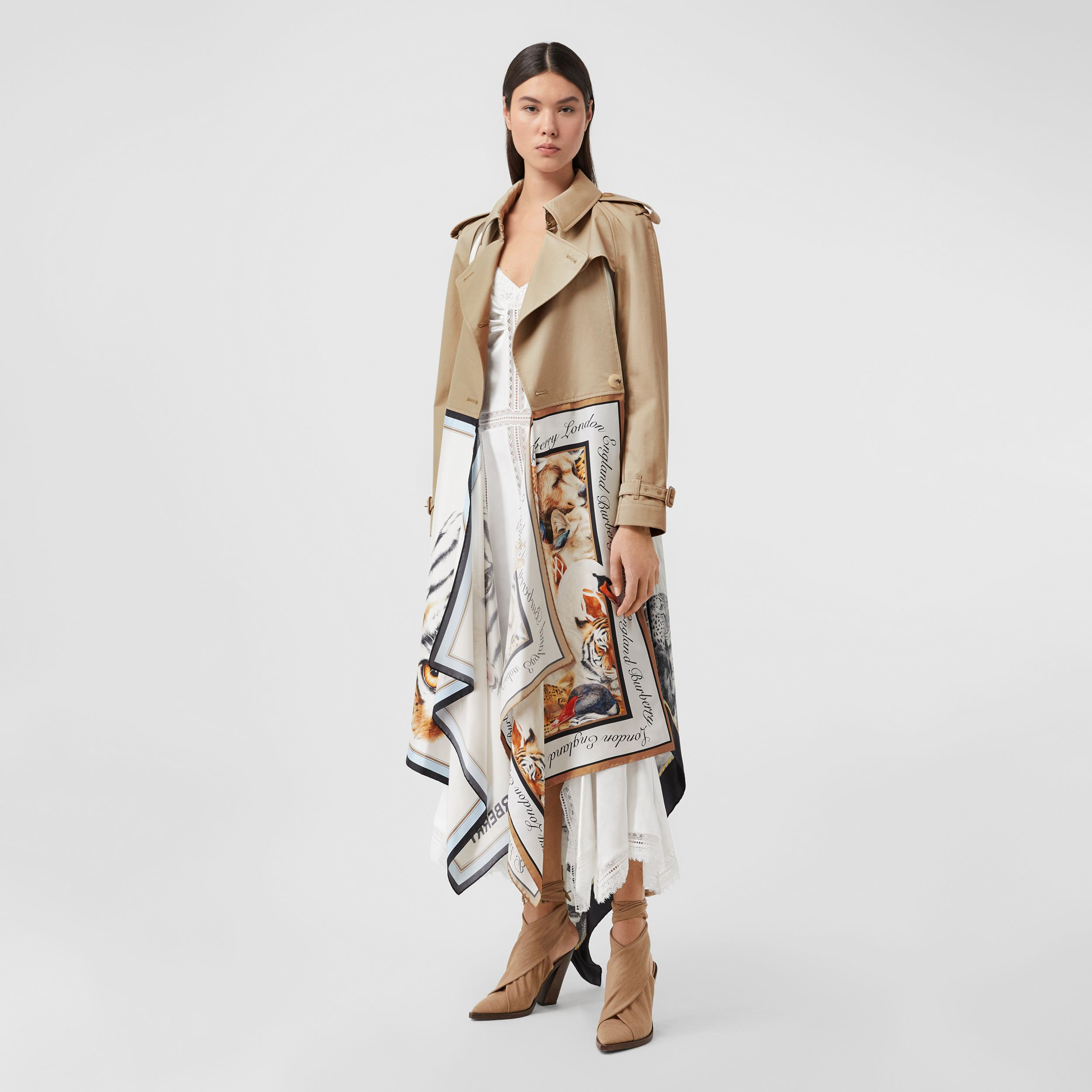 Animalia Print Cotton Twill Trench Coat in Soft Fawn - Women | Burberry - 1