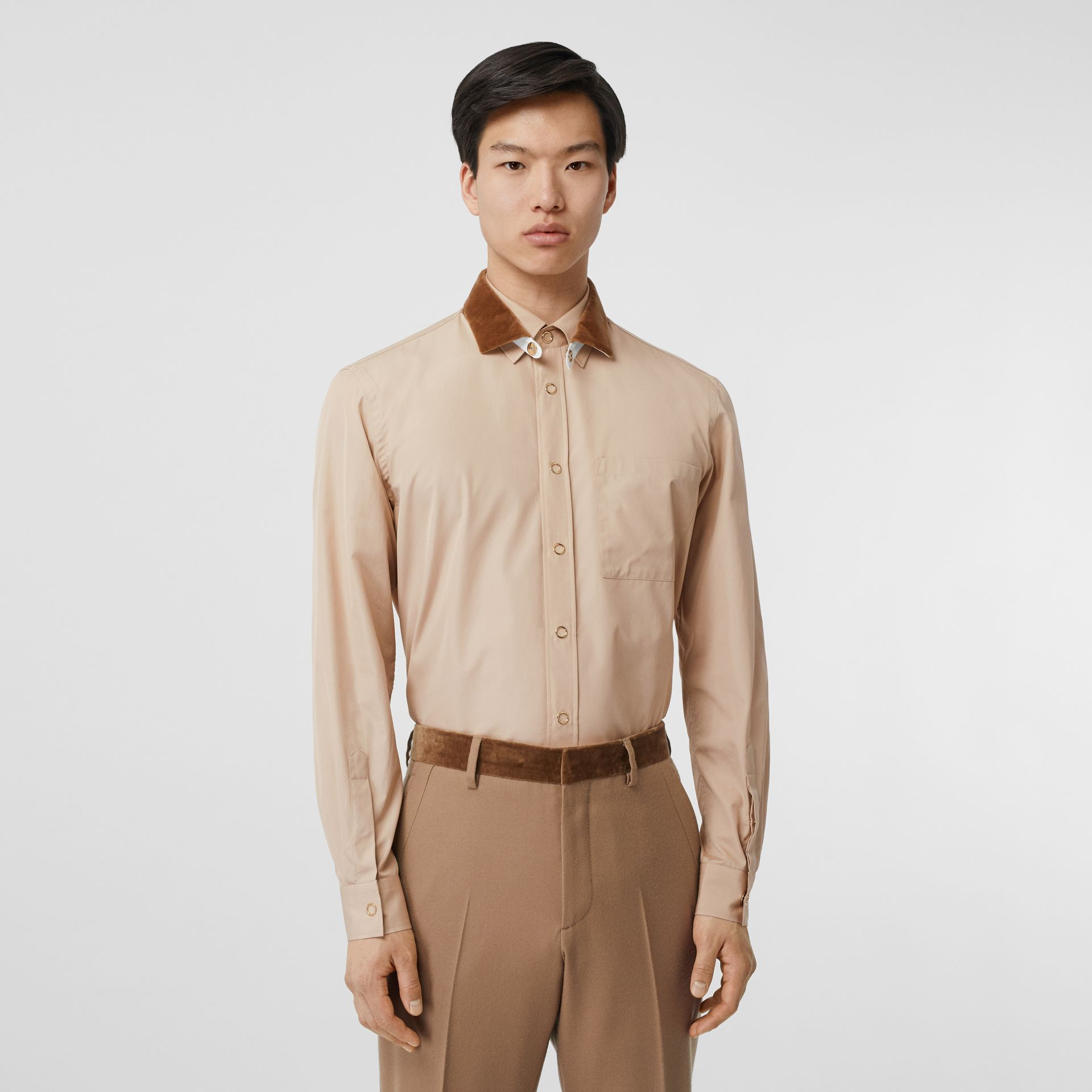 Classic Fit Detachable Collar Cotton Poplin Shirt in Soft Fawn - Men | Burberry - gallery image 0