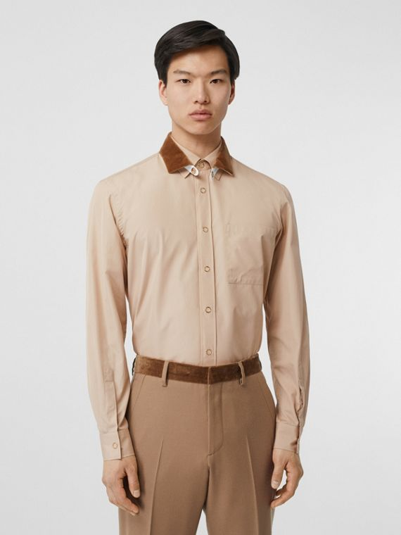 Classic Fit Detachable Collar Cotton Poplin Shirt in Soft Fawn