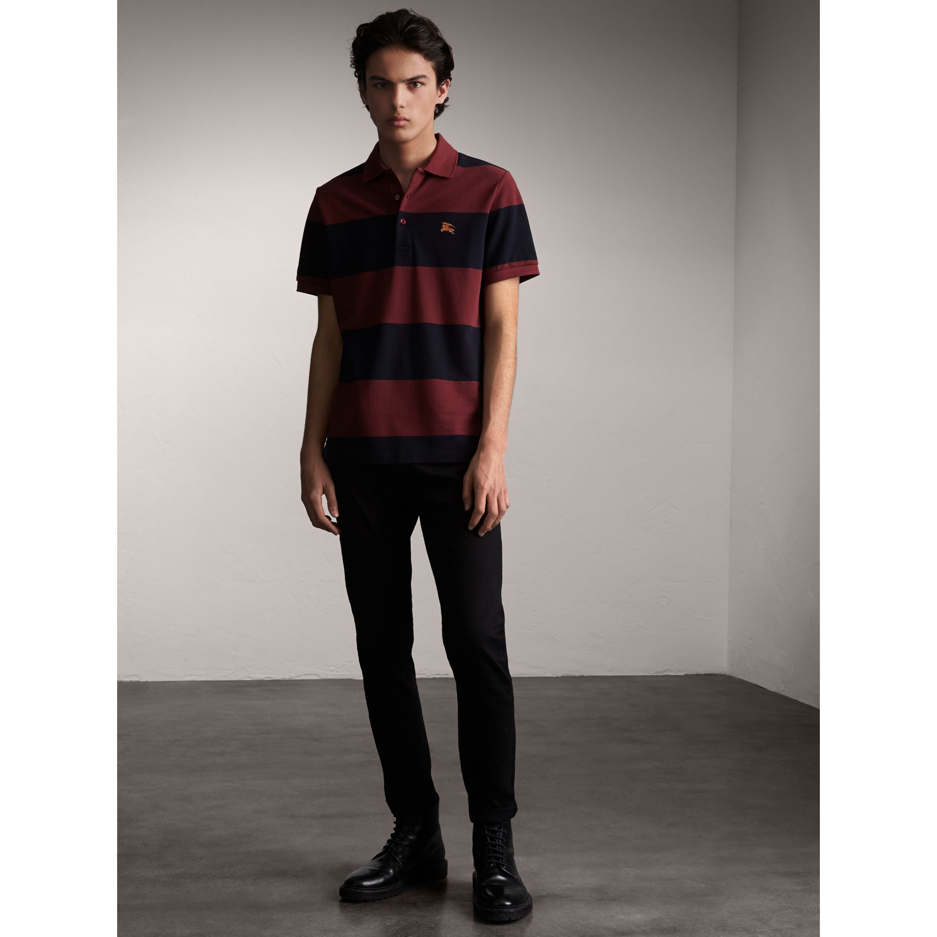 Striped Cotton Piqué Polo Shirt in Burgundy/navy - Men | Burberry Singapore - gallery image 5