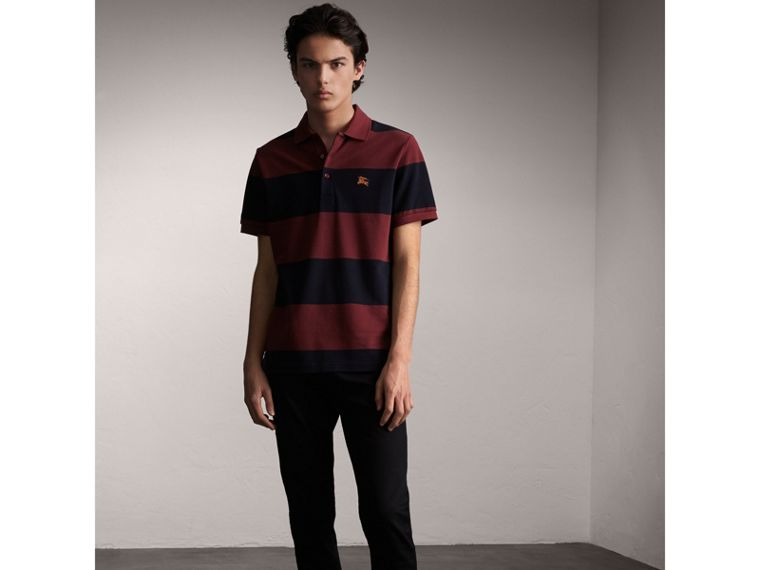 Striped Cotton Piqué Polo Shirt in Burgundy/navy - Men | Burberry - cell image 4