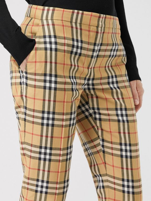 Vintage Check Wool Cigarette Trousers in Antique Yellow - Women | Burberry - cell image 1