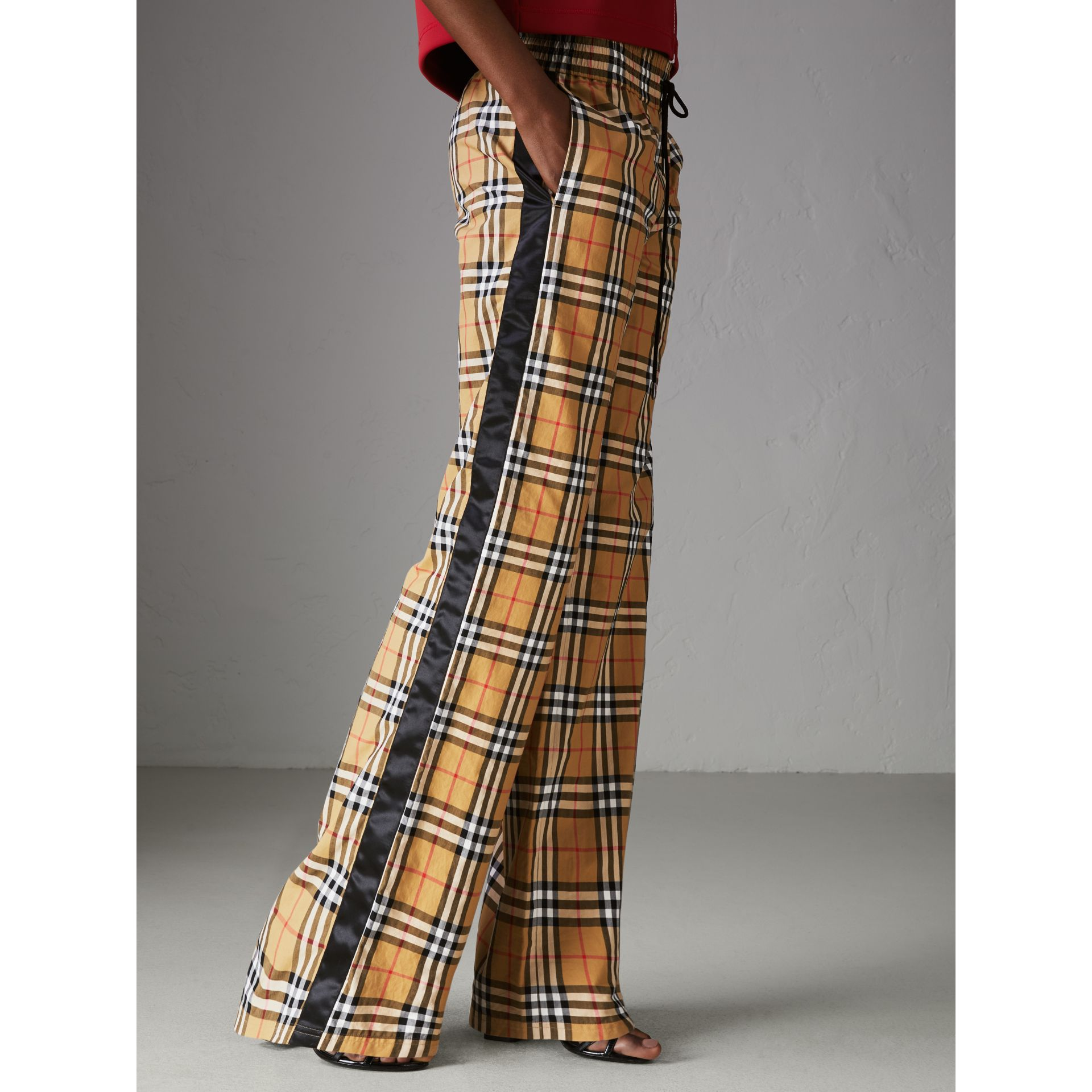 Vintage Check Drawcord Trousers in Antique Yellow - Women | Burberry Hong Kong - gallery image 4