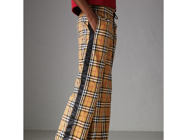 Vintage Check Drawcord Trousers in Antique Yellow - Women | Burberry Hong Kong - cell image 4