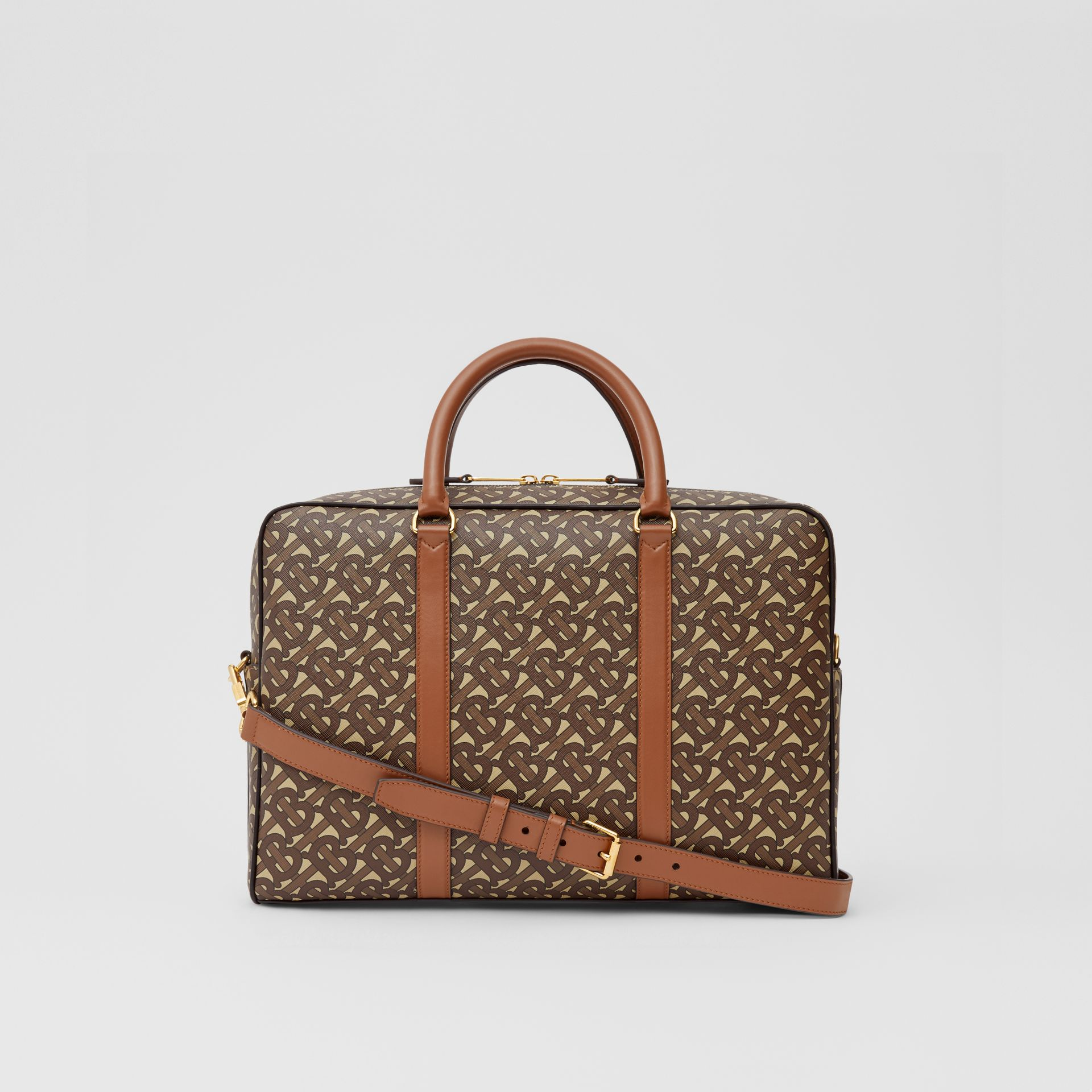 Monogram Print E-canvas and Leather Briefcase in Bridle Brown - Men | Burberry - gallery image 7