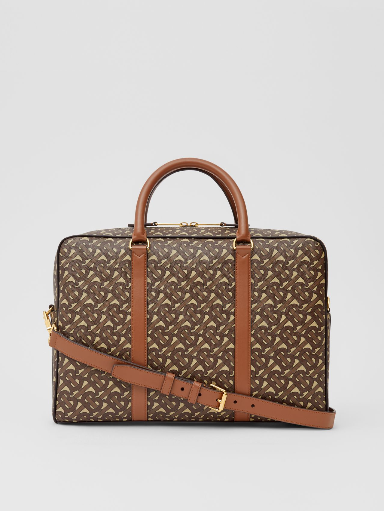 Monogram Print E-canvas and Leather Briefcase in Bridle Brown