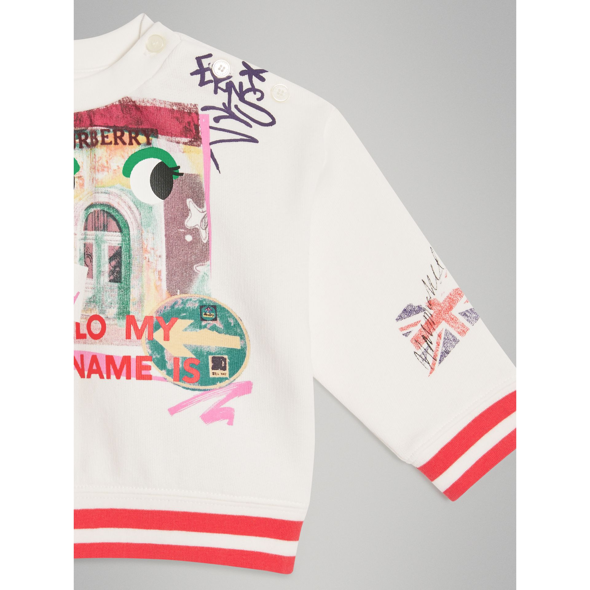 London Polaroid Print Cotton Sweatshirt in Ivory | Burberry - gallery image 4