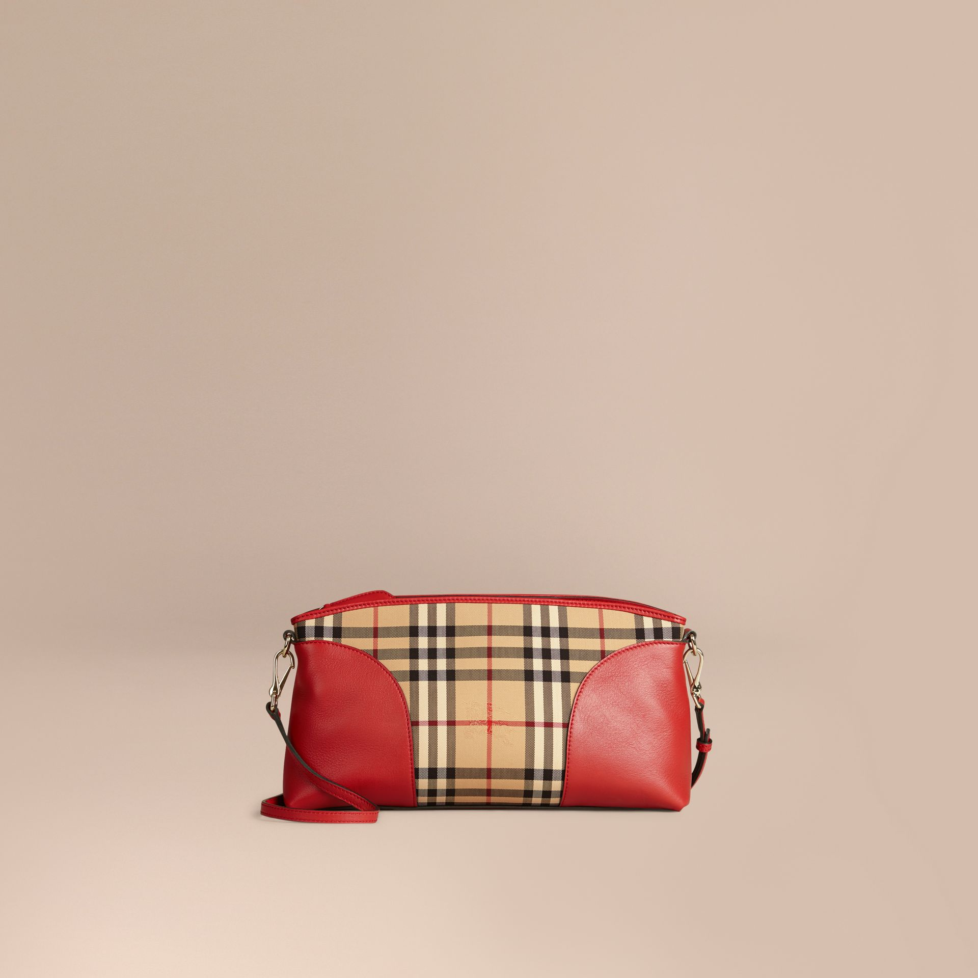 Horseferry Check and Leather Clutch Bag in Honey/parade Red - gallery image 6
