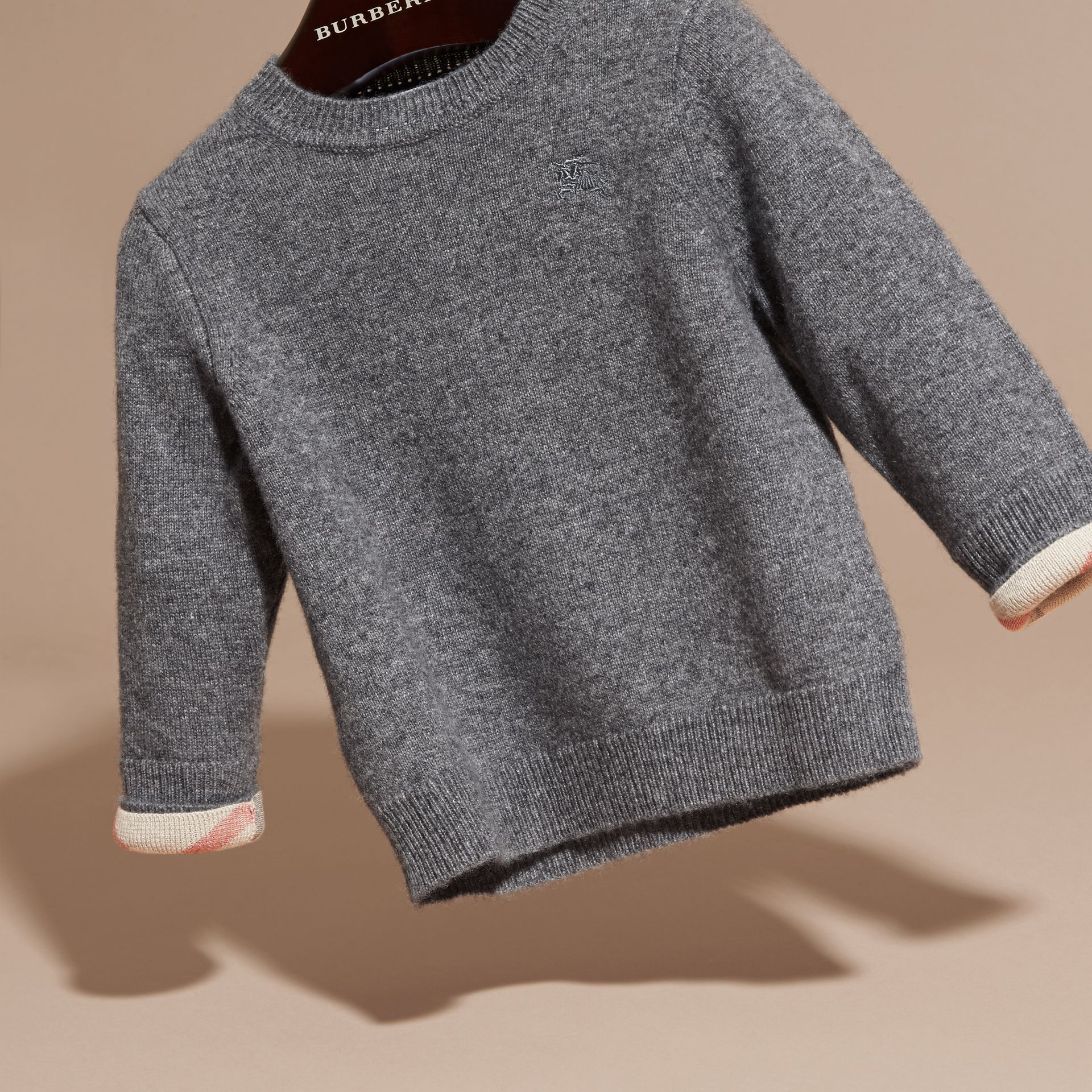 Check Detail Cashmere Sweater in Mid Grey Melange | Burberry - gallery image 3