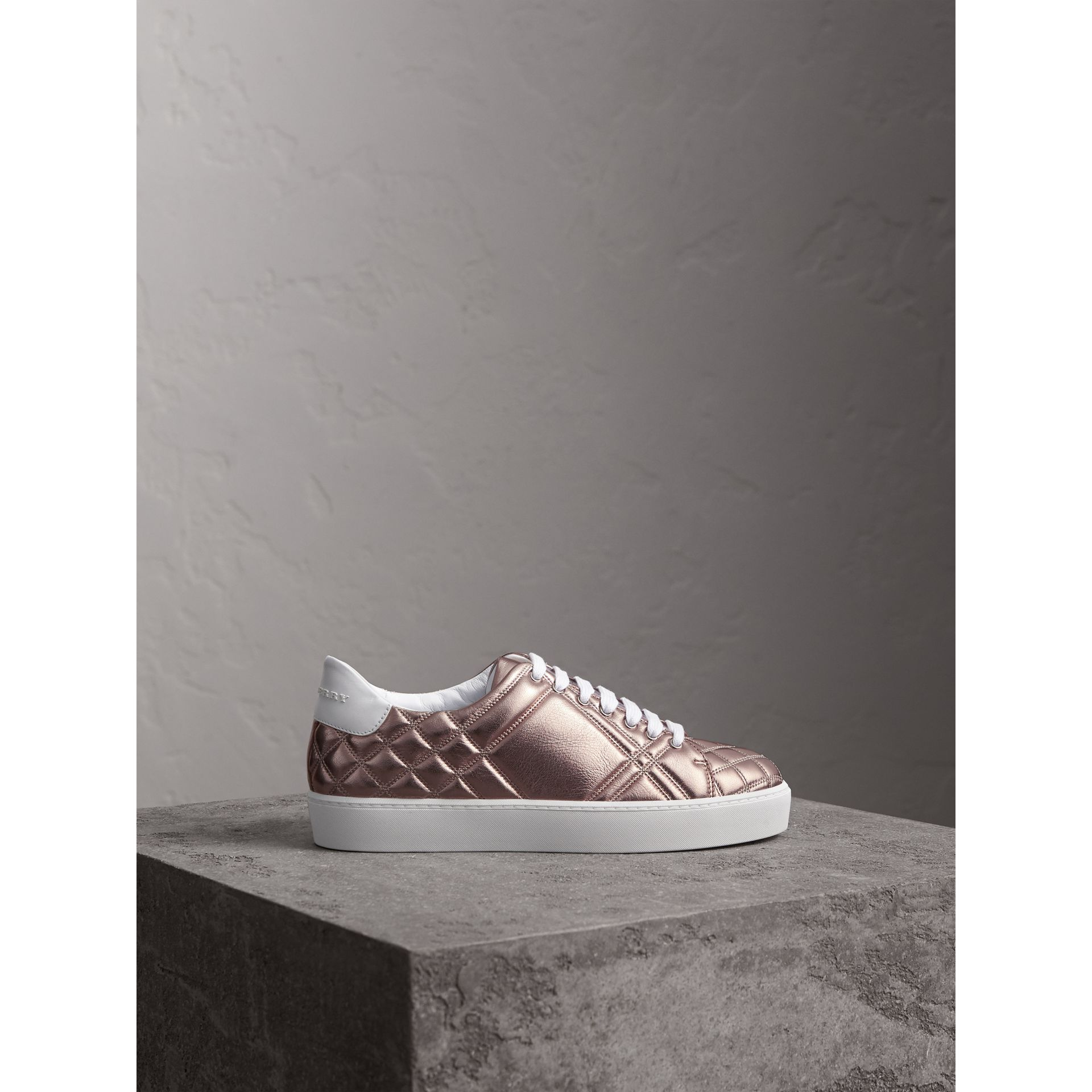 Metallic Check-quilted Leather Trainers in Nude - Women | Burberry - gallery image 4