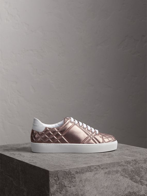 Metallic Check-quilted Leather Trainers in Nude - Women | Burberry - cell image 3