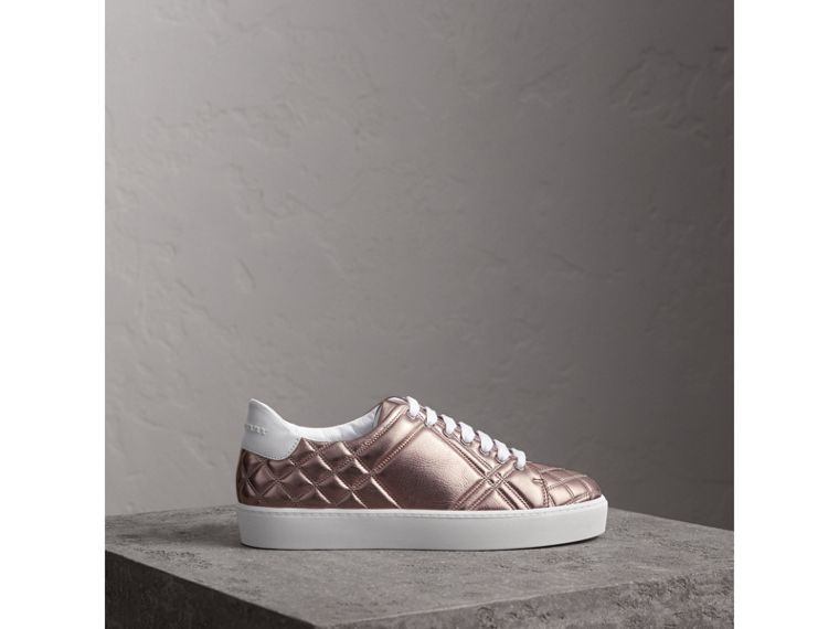 Metallic Check-quilted Leather Sneakers in Nude - Women | Burberry - cell image 4
