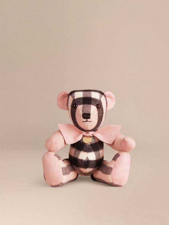Thomas Bear in Check Cashmere in Ash Rose