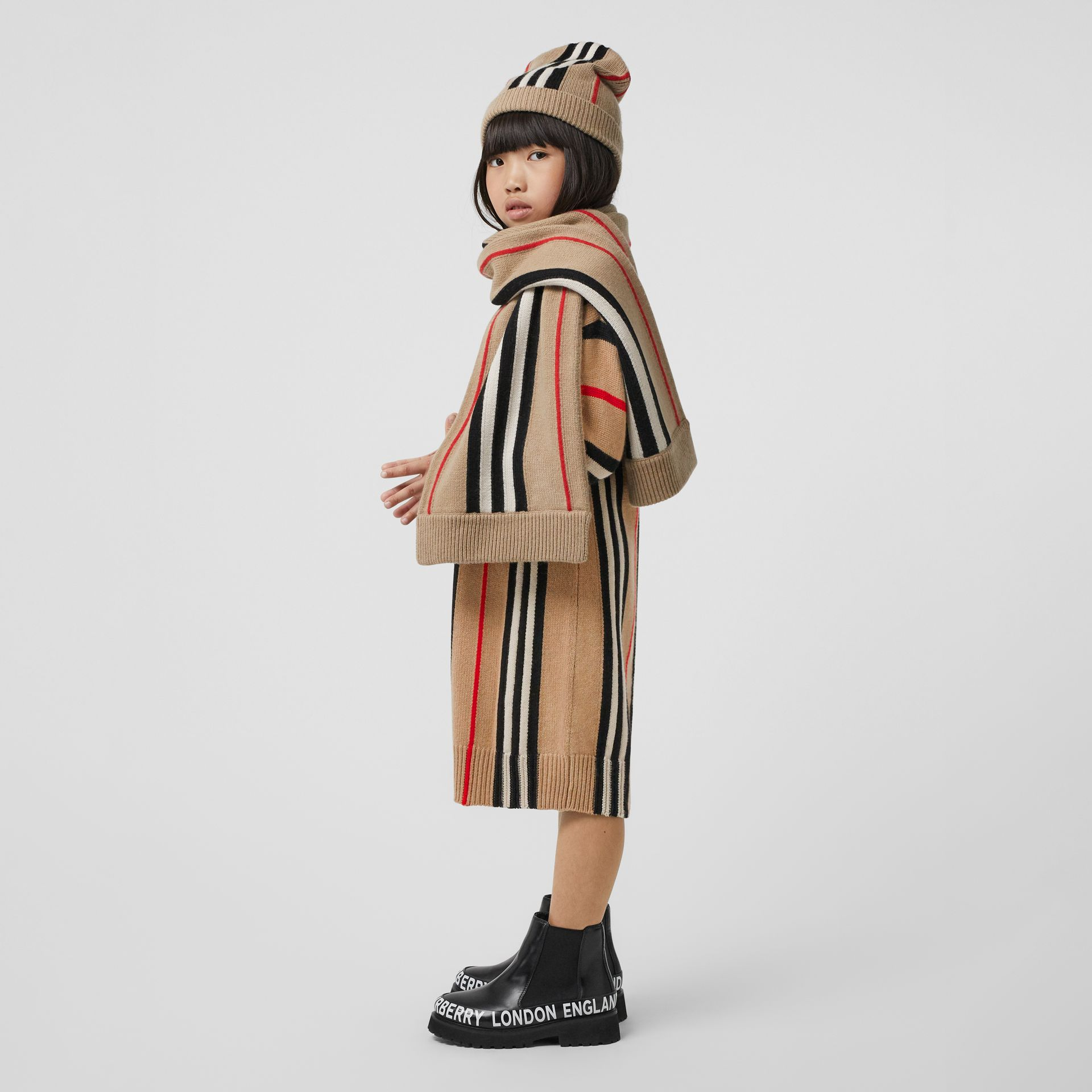 Icon Stripe Wool Cashmere Jacquard Sweater Dress in Archive Beige | Burberry Hong Kong S.A.R - gallery image 2