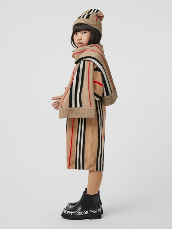 Icon Stripe Wool Cashmere Jacquard Sweater Dress in Archive Beige