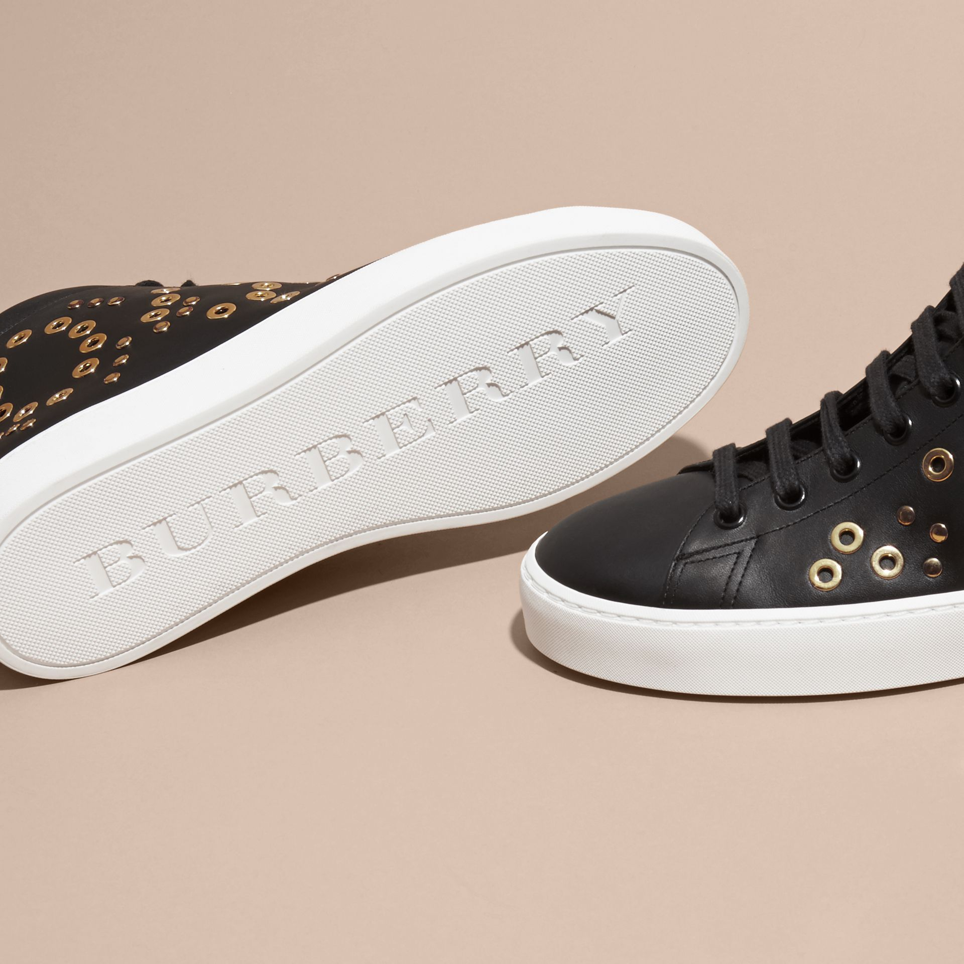 Rivet and Eyelet Leather High-top Trainers - gallery image 5