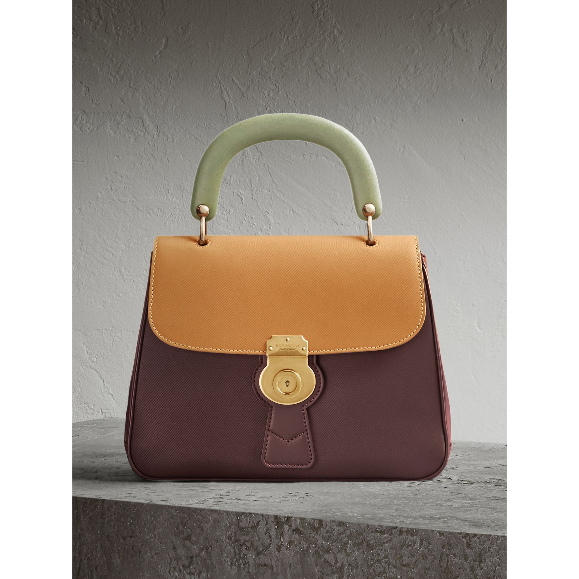 The Medium DK88 Top Handle Bag in Dark Chocolate/ochre Yellow - Women | Burberry - gallery image 1