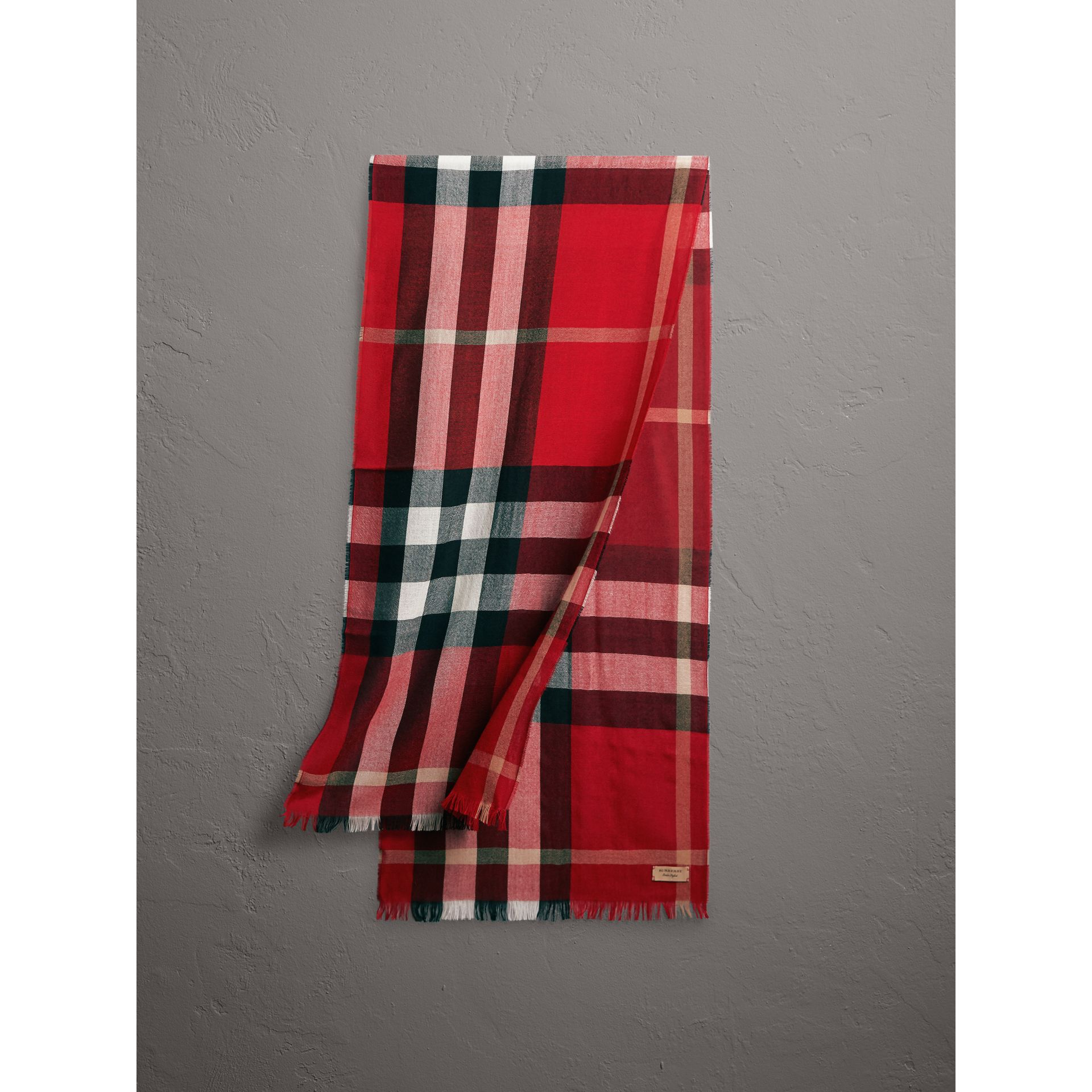 Lightweight Check Wool Cashmere Scarf in Parade Red | Burberry Australia - gallery image 1