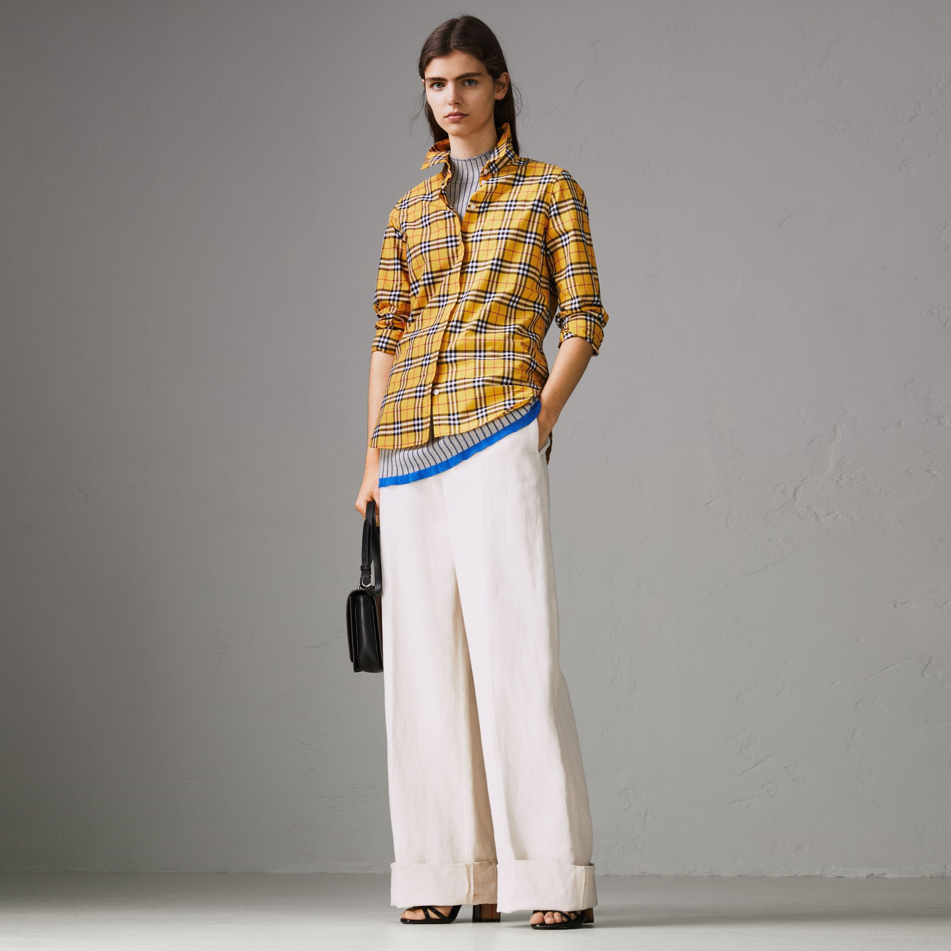 Check Cotton Shirt in Bright Ochre Yellow - Women | Burberry - gallery image 0