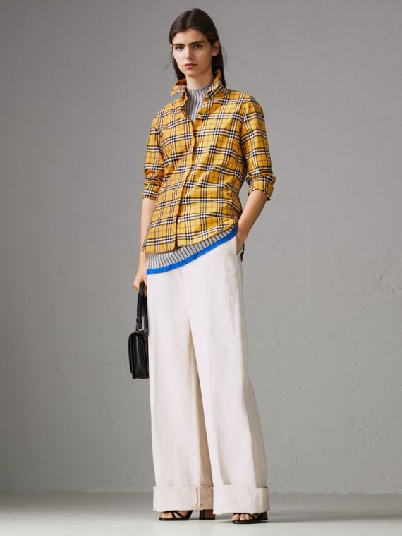 Check Cotton Shirt in Bright Ochre Yellow