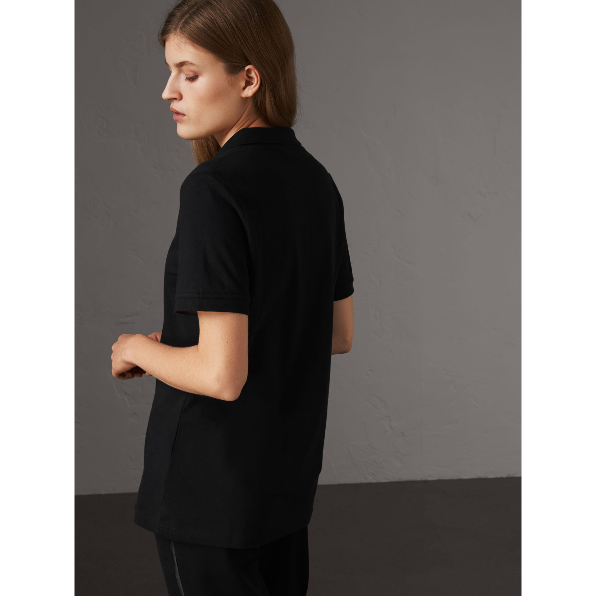 Check Trim Stretch Cotton Piqué Polo Shirt in Black - Women | Burberry - gallery image 3