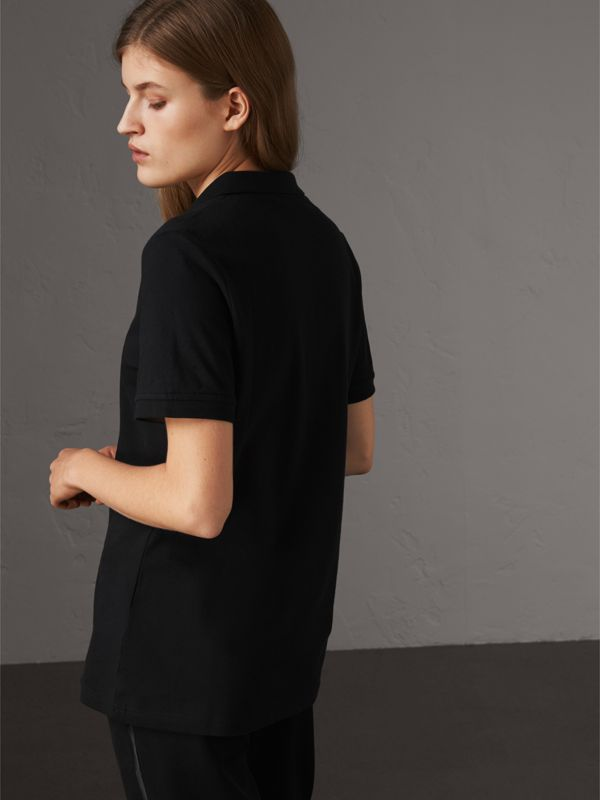 Check Trim Stretch Cotton Piqué Polo Shirt in Black - Women | Burberry - cell image 2