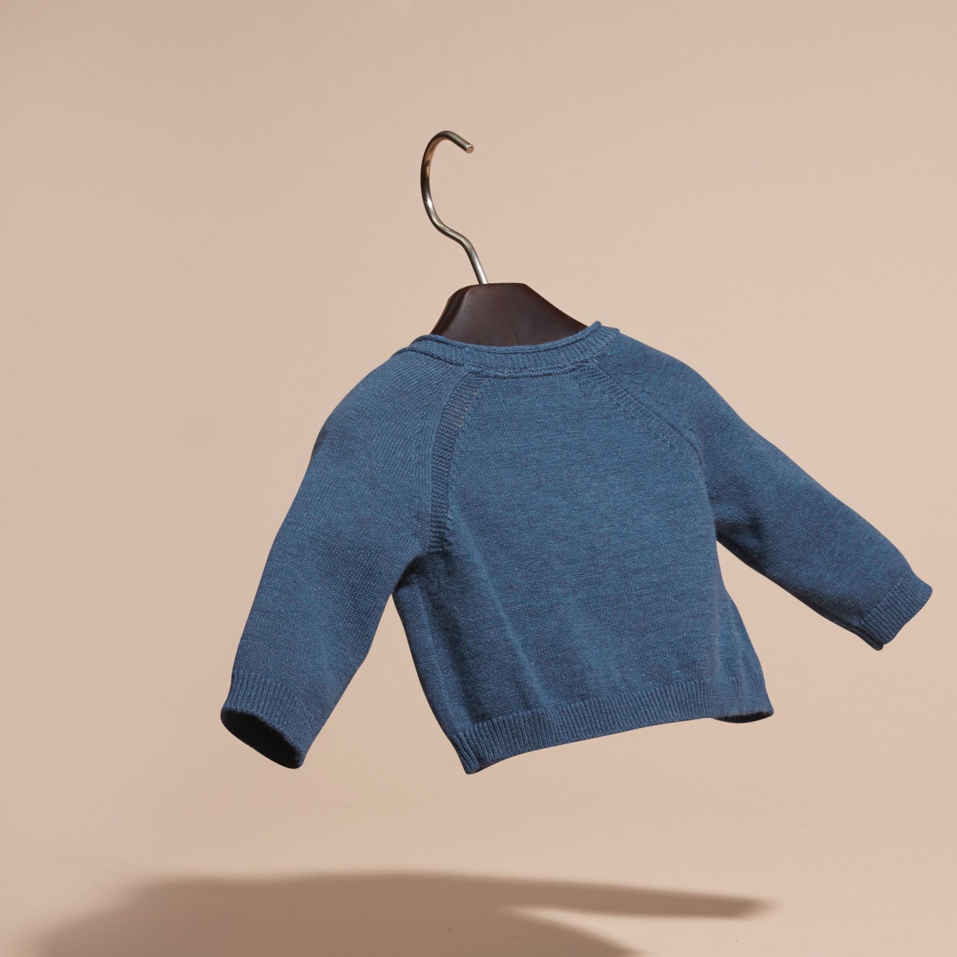 Blu acciaio intenso Cardigan in cashmere e cotone con scollo a V Blu Acciaio Intenso - immagine della galleria 4