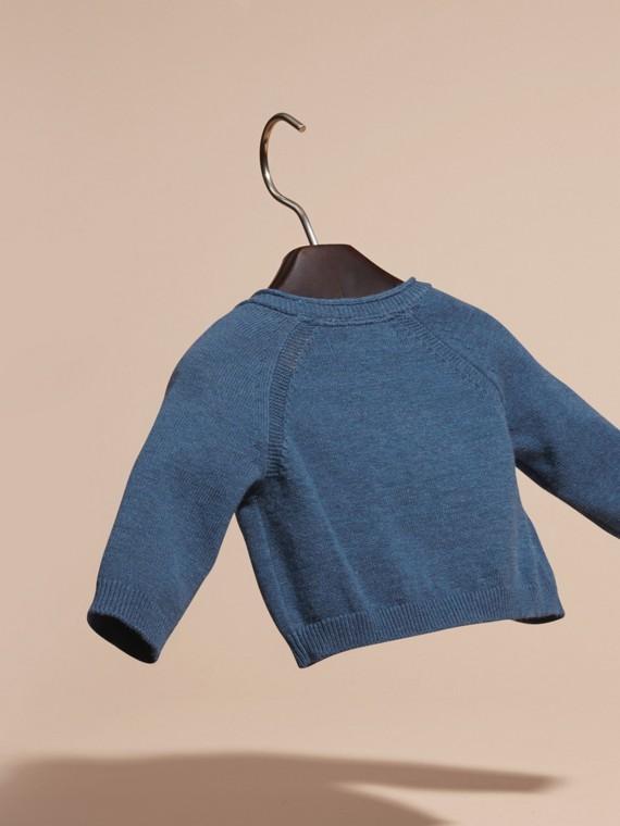 Blu acciaio intenso Cardigan in cashmere e cotone con scollo a V Blu Acciaio Intenso - cell image 3