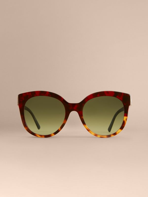 Buckle Detail Cat-eye Frame Sunglasses in Amber Yellow - Women | Burberry - cell image 2
