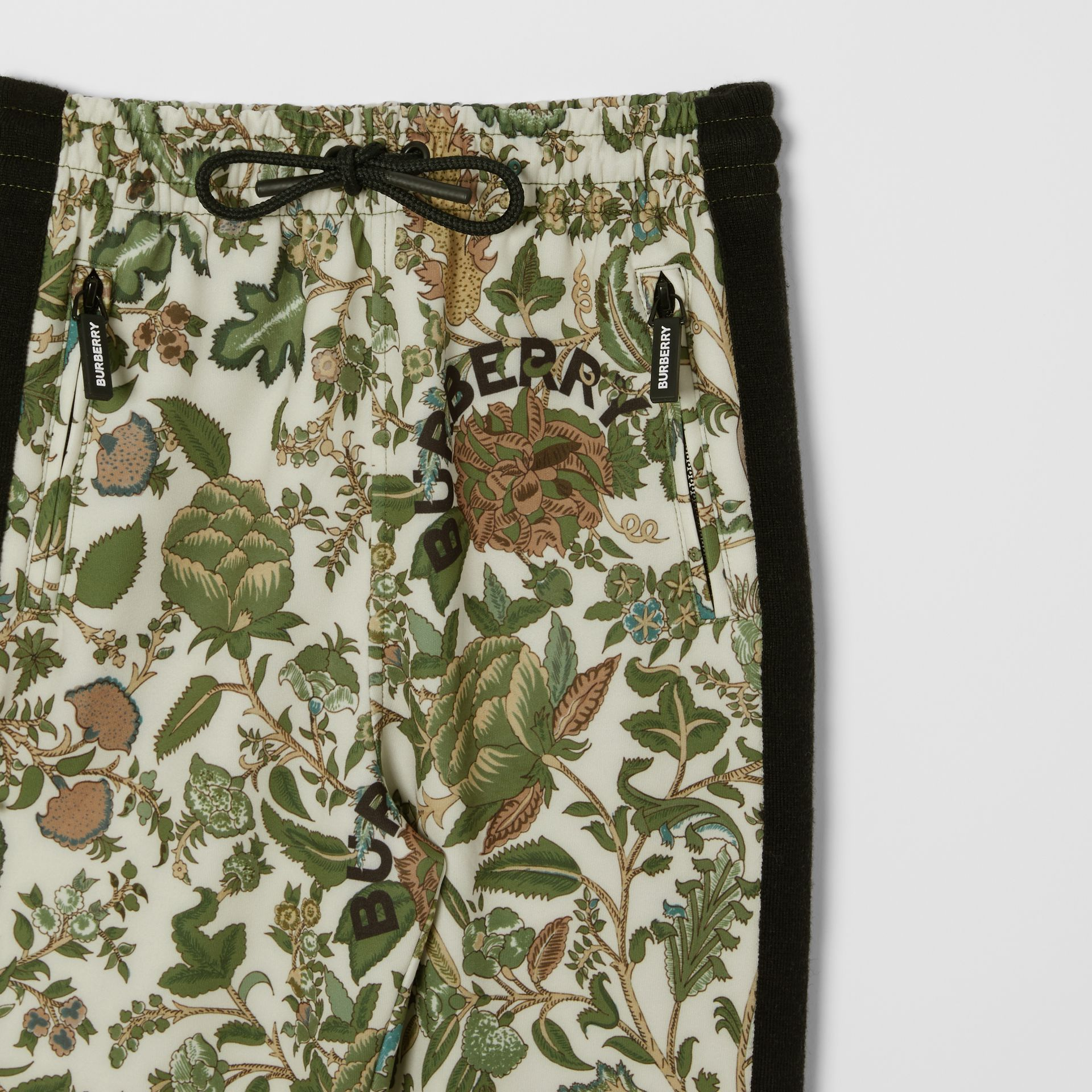 Botanical Print Neoprene Trackpants in Olive | Burberry Australia - gallery image 5