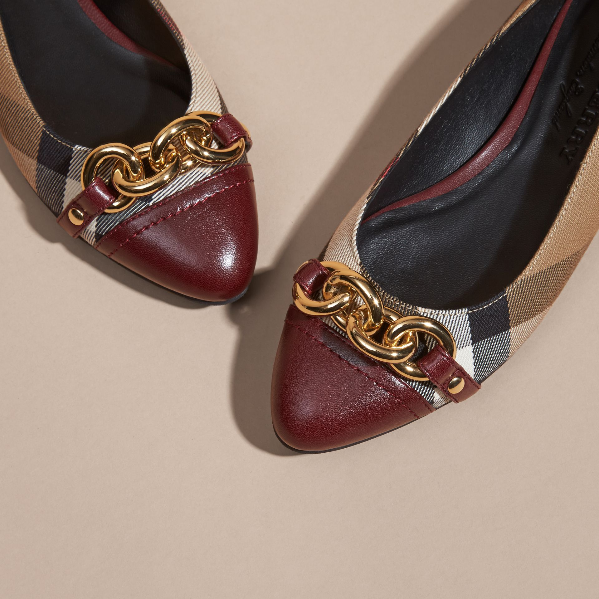 Mahogany red Chain Detail House Check Ballerinas - gallery image 2