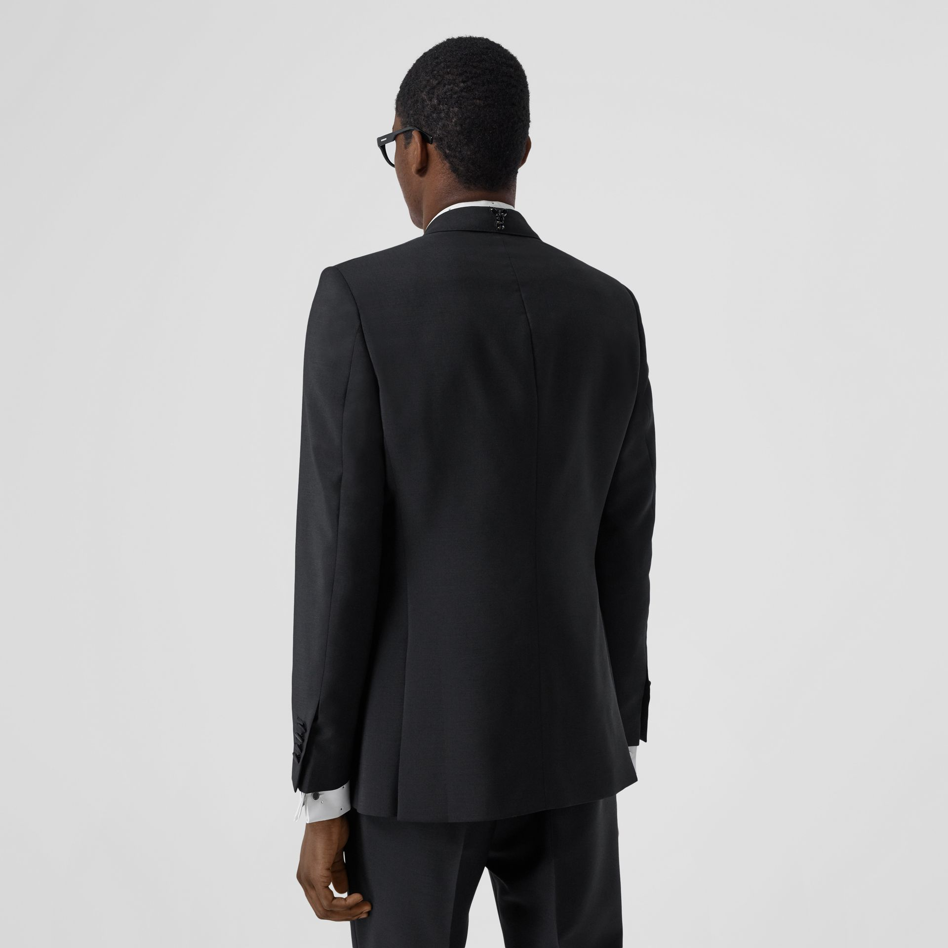 English Fit Embellished Mohair Wool Tuxedo Jacket in Black - Men | Burberry - gallery image 2