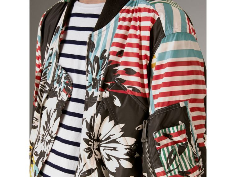 Floral Stripe Print Bomber Jacket in Steel Blue - Men | Burberry Singapore - cell image 1