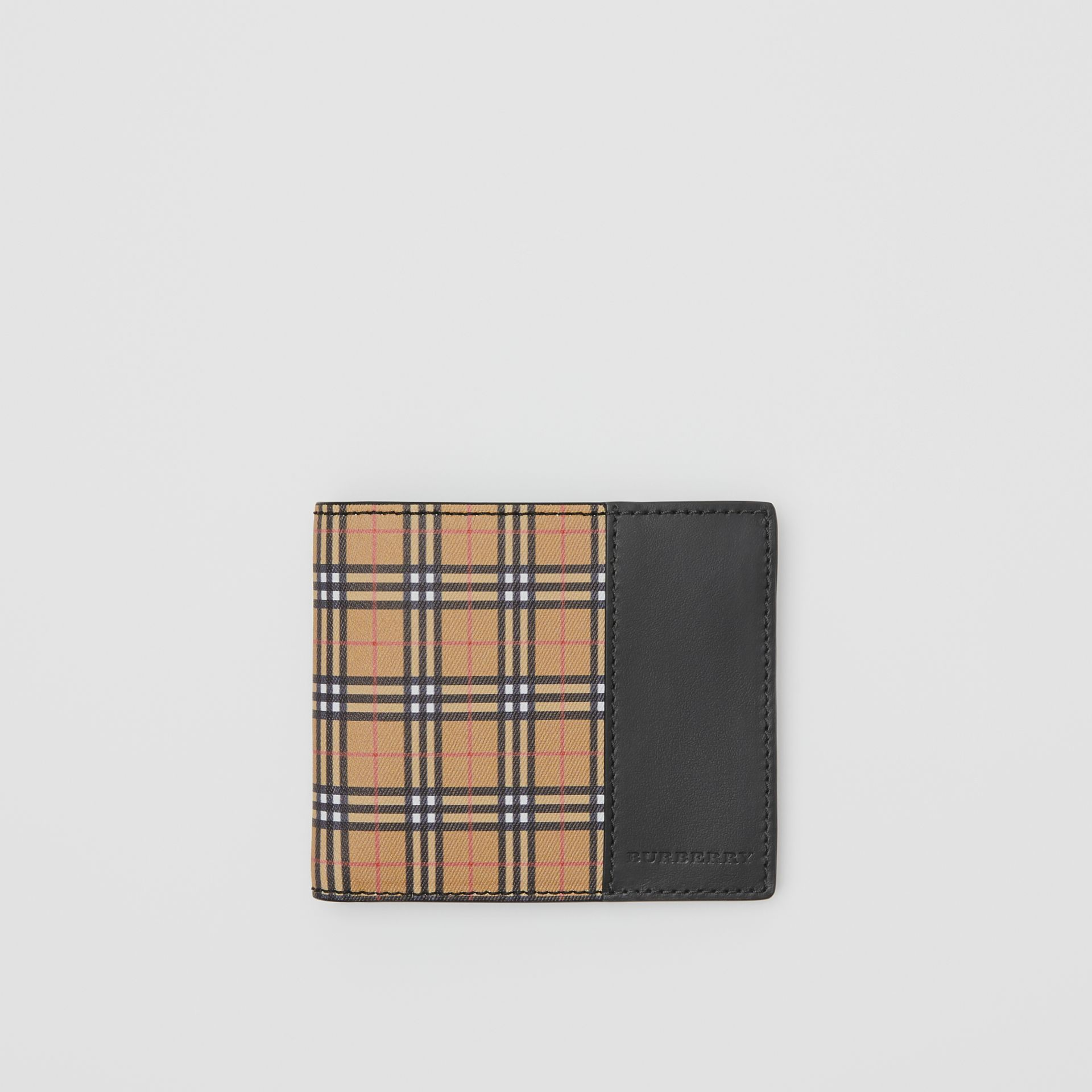 Small Scale Check International Bifold Wallet in Antique Yellow/black - Men | Burberry United States - gallery image 0