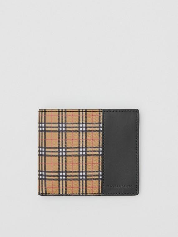 Складной бумажник в мелкую клетку (Античный Желтый / Черный)