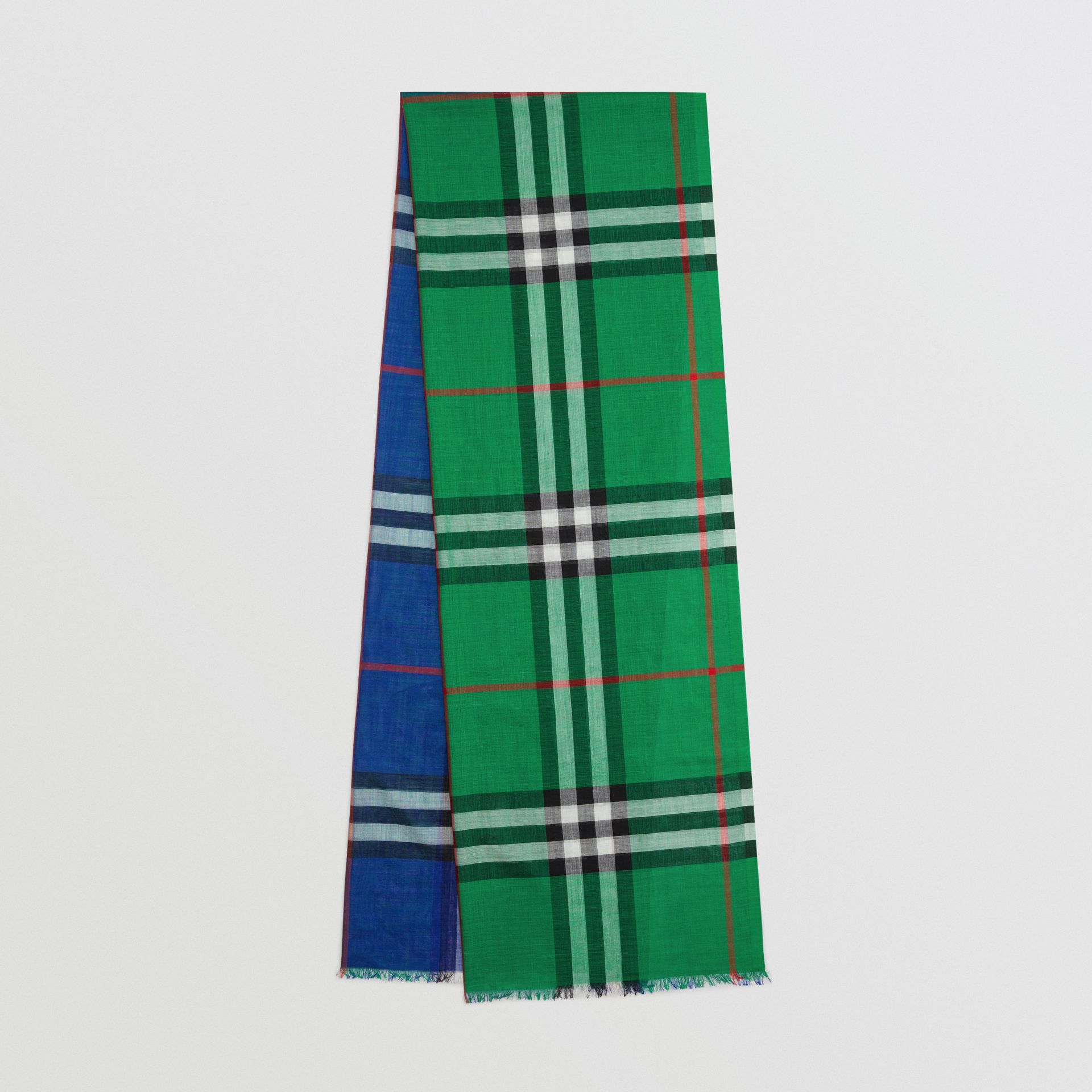 Colour Block Check Wool Silk Scarf in Teal | Burberry United Kingdom - gallery image 0