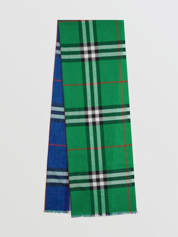 Colour Block Check Wool Silk Scarf in Teal