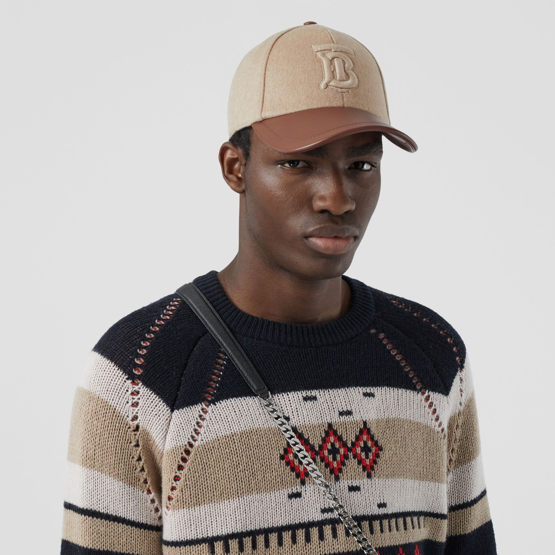Monogram Motif Cashmere and Leather Baseball Cap in Camel | Burberry - gallery image 3